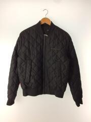 キルティングジャケット/ブルゾン/M/ポリエステル/ブラック/刺繍