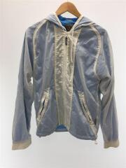 ナイロンジャケット/M/ナイロン/ブルー/リップストップ/ロゴマーク刺繍/スケルトン/ドローコード