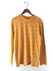 17AW/Velour Diagonal Logo/長袖Tシャツ/M/コットン/イエロー/総柄
