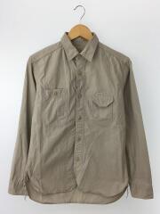 長袖シャツ/M/コットン/グレー/メンズ/ラウンド裾/トップス/ジャケット/