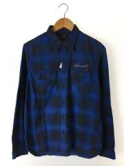 ネルシャツ/2/コットン/ブルー/チェック/ボタンダウン/フラップポケット/