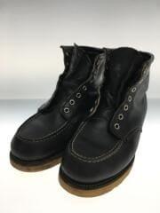 レースアップブーツ/US8/ブラック/黒/エンジニアブーツ/革靴/