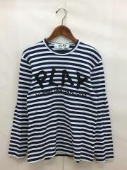 ロンT/長袖Tシャツ/L/コットン/ネイビー/ボーダー/ロゴ/プリント/AZ-T018/AD2004