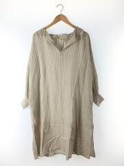 Stripe Keyneck Dress/ワンピース/ドレス/36/コットン/クリーム/エンボス/ノーカラー/