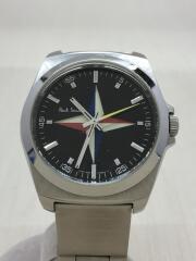 クォーツ腕時計/アナログ/ステンレス/ブラック