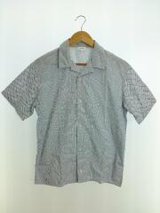 半袖シャツ/オープンカラーシャツ/開襟シャツ/38/コットン/ネイビー/ホワイト/ドット柄/イタリア製
