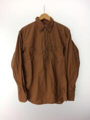 Zip Up Pullover Shirt/長袖シャツ/L/コットン/BRW/nt3751n