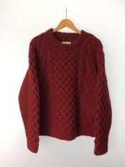 20AW/CABLE KNIT PULLOVER/ケーブルニット/セーター(厚手)/2/ウール/RED