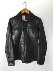 レザーシャツジャケット/2/山羊革/ブラック/無地
