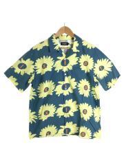 半袖シャツ/L/コットン/ブルー/花柄
