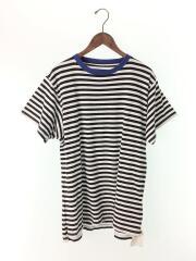 TRIM COLOR BORDER BIG TEE/Tシャツ/S/コットン/WHT/ボーダー/中古