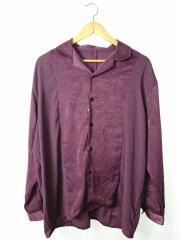 オープンカラー シャツ/長袖シャツ/M/ポリエステル/BRD/HA020415LV