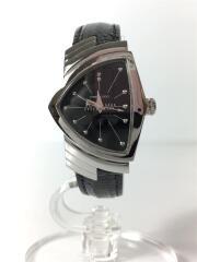 ベンチュラ/クォーツ腕時計/アナログ/レザー/BLK/BLK/H242112/電池交換済