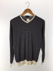 セーター(薄手)/S/コットン/BLK/ボーダー