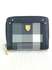 2つ折り財布/レザー/BLK/チェック