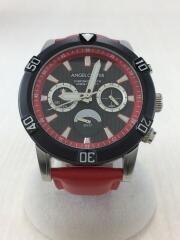 クォーツ腕時計/アナログ/レザー/BLK/RED