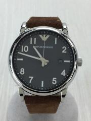 AR-11070/クォーツ腕時計/アナログ/レザー/GRY/BRW