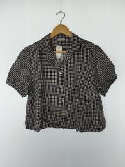 半袖シャツ/--/リネン/BLK/ギンガムCK