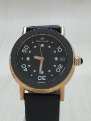 クォーツ腕時計/アナログ/レザー/BLK/WF0R015SDK