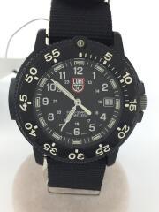 クォーツ腕時計/アナログ/ナイロン/BLK/BLK