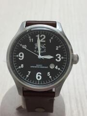 腕時計/アナログ/レザー/BLK/BRW