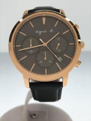 VD53-KWB0/クォーツ腕時計/アナログ/レザー/BRW/BLK
