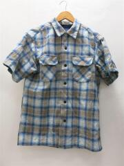 半袖シャツ/M/ウール/BLU/チェック