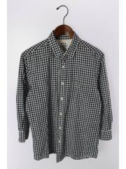 7分袖シャツ/L/コットン/ネイビー/チェック/NUF62SH0240OS