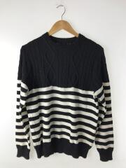 セーター(厚手)/M/ウール/ブラック/ボーダー/SOPH-167113/16