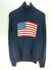 セーター(厚手)/XS/コットン/ネイビー/0187242RGPM/星条旗/アメカジ/セカスト
