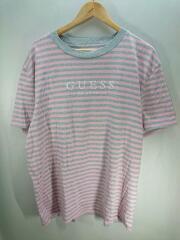 Tシャツ/L/コットン/PNK/ボーダー