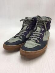 ハイカットスニーカー/カーキ/紫/パープル/靴/