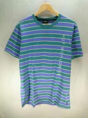 Tシャツ/L/コットン/ブルー/RN11490/ボーダー/HUFWORLDWIDE/ロゴ刺繍