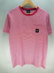 Tシャツ/M/コットン/レッド/赤/RN114910/ボーダー/SK8/ポケTee/ロゴワッペン