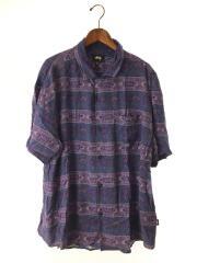 半袖シャツ/XL/レーヨン/パープル/紫/総柄/RN94974/CA28629