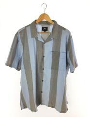 半袖シャツ/XL/コットン/水色/ストライプ/オープンカラー/開襟シャツ
