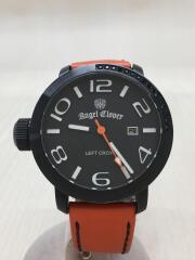 クォーツ腕時計/アナログ/レザー/BLK/ORN/LC45/セカンドストリート
