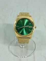 クォーツ腕時計/アナログ/ステンレス/グリーン/ゴールド/緑/金/THE TIME TELLER