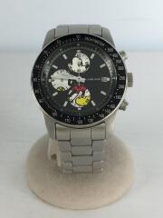 クォーツ腕時計/アナログ/ステンレス/ブラック/黒/ミッキーコラボ
