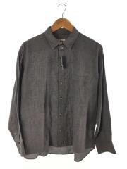 長袖シャツ/--/コットン/グレー/灰色/ダメージ加工