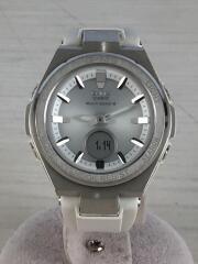 ソーラー腕時計/アナログ/ラバー/シルバー/ホワイト/汚れ有/MSG-W200