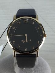 クォーツ腕時計/アナログ/フェイクレザー/ブラック/黒/7N00-0BH0