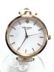 クォーツ腕時計/アナログ/レザー/ホワイト/ゴールド/シェル/Holland/KSW1280/傷あり