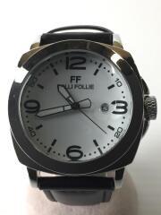 クォーツ腕時計/アナログ/レザー/WHT/BLK/WT13K009SNW