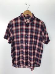 半袖シャツ/L/コットン/レッド/チェック/NR21424