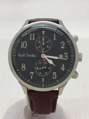 クォーツ腕時計/アナログ/レザー/BLK/BRW