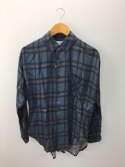 15SS/タータンチェックシャツ/1/レーヨン/ブルー/青