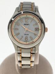 ソーラー腕時計/アナログ/ステンレス/GRY/SLV/V182-0AE0