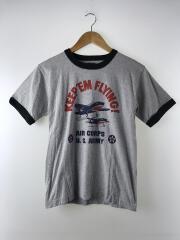 REAL McCoyS/Tシャツ/36/コットン/GRY/リンガーTシャツ/レプリカ