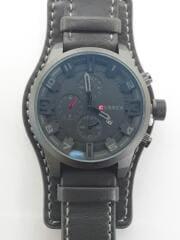 CURREN/クォーツ腕時計/アナログ/レザー/ブラック/m8225/